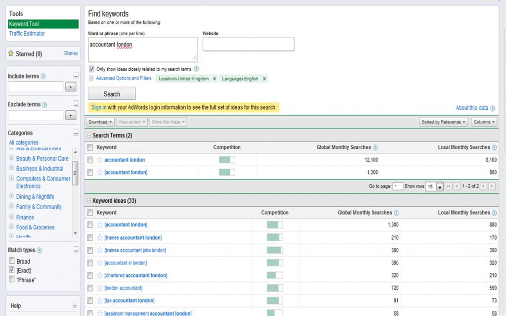 google keyword tool settings