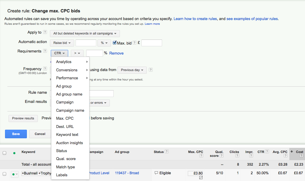 Change max CPC bids Adwords rules