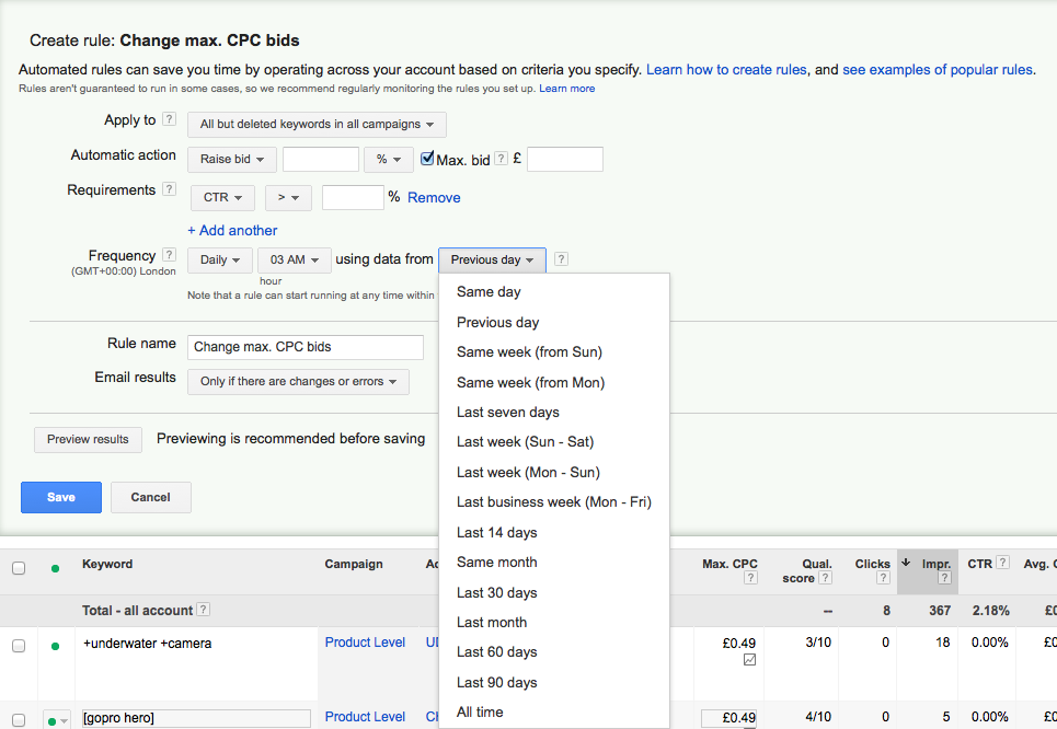 Frequency of data to be used for Adwords bid changes