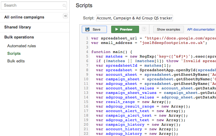 Google Adwords scripts
