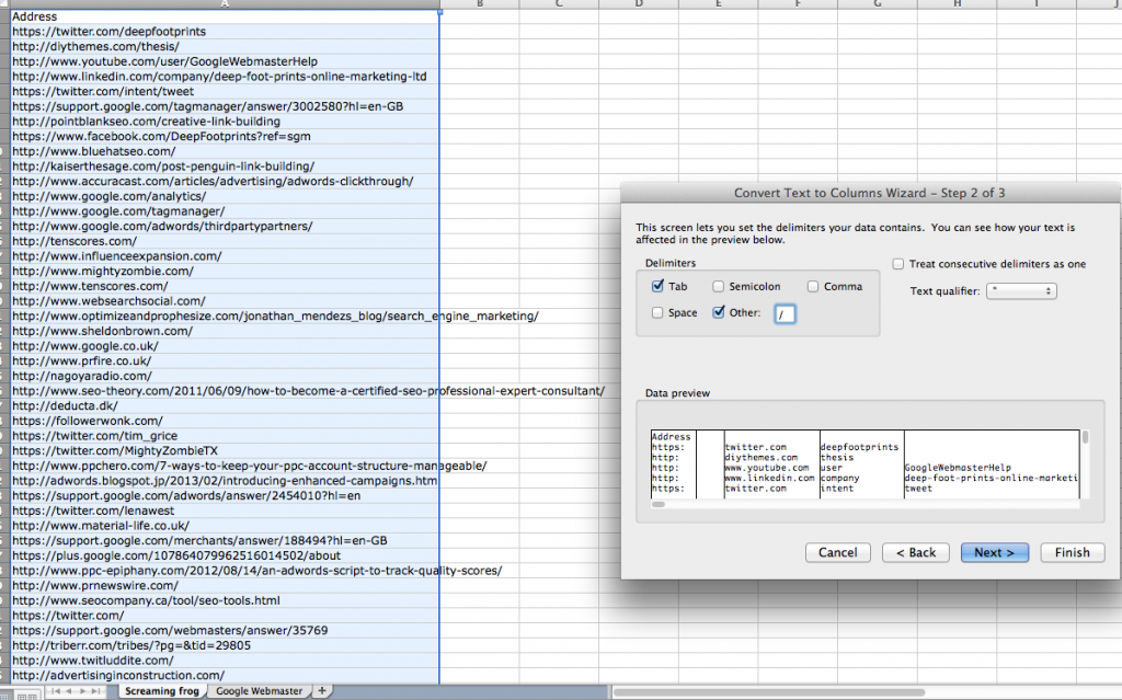 Matching backlink data in Excel