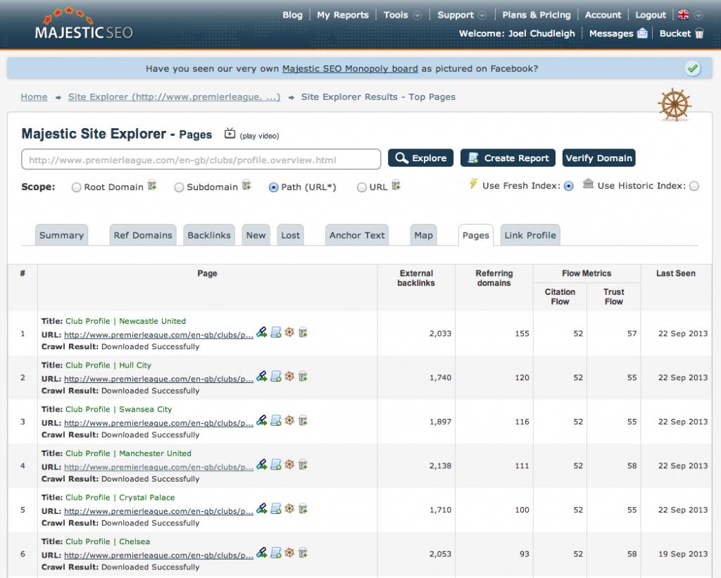MajesticSEO Wildcard Site Explorer Analysis